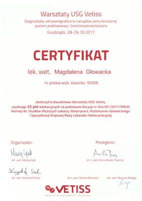 Certyfikat USG - Przychodznia Weterynaryjna 4 Łapy Olsztyn